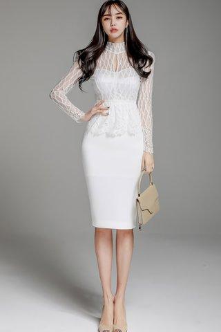 BACKORDER - Florentina Mesh Keyhole Overlay Dress in White