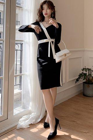 BACKORDER - Gabrielle Sleeve Ribbon Tie Dress