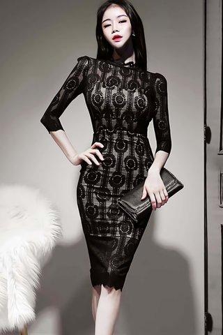BACKORDER - Gillian Lace Overlay Midi Dress