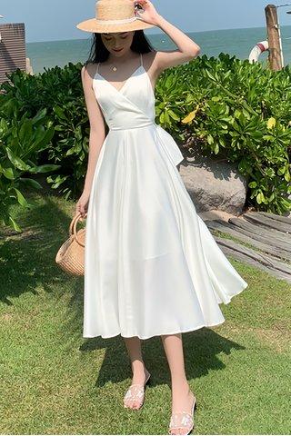BACKORDER - Jacinda Bareback Criss Cross Dress in White