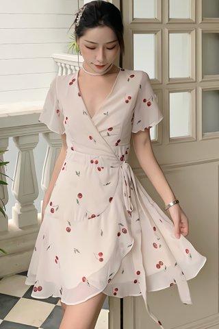 BACKORDER - Jennifer Cherry Print Wrap Dress