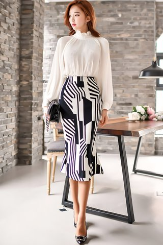 BACKORDER - Lucia High Neck Top With Print Skirt Set