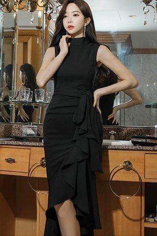 BACKORDER - Luiny Ruffle Asymmetrical Dress in Black