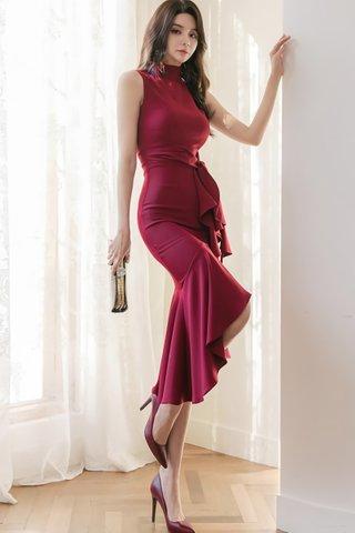 BACKORDER - Luiny Ruffle Asymmetrical Dress in Wine Red
