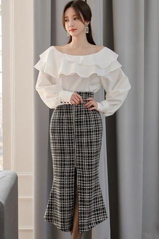 BACKORDER - Nathalie Plaid Slit Skirt