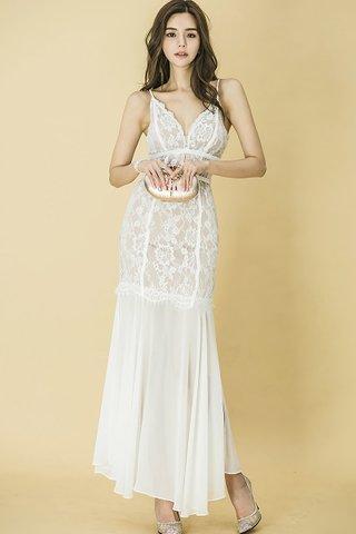 BACKORDER - Nicola Lace Overlay Ruffle Hem Maxi Dress