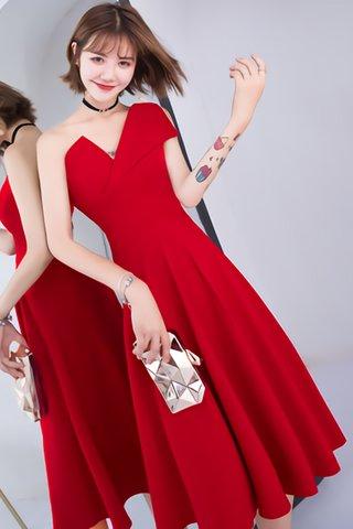 BACKORDER - Odette One Shoulder A-Line Dress in Red