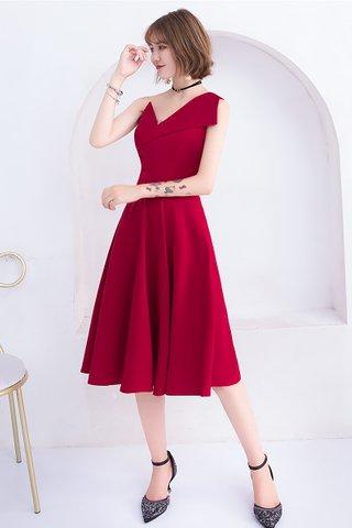 BACKORDER - Odette One Shoulder A-Line Dress in Ruby Red