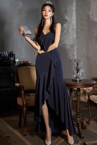 BACKORDER - Sabrina Ruffle Cascade Dress in Blue