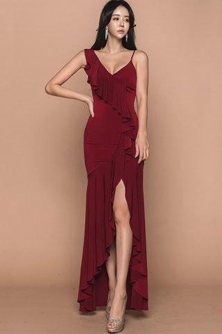 BACKORDER - Sabrina Ruffle Cascade Dress in Red
