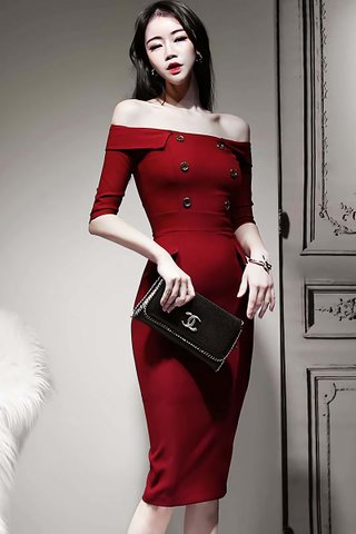 BACKORDER - Sachin Cold Shoulder Midi Dress