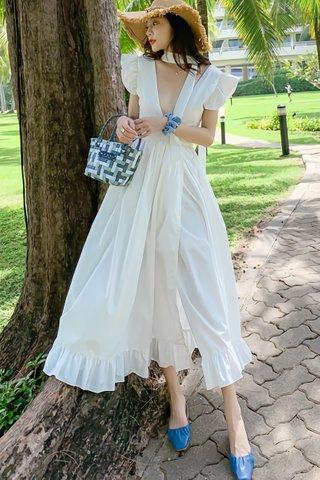 BACKORDER - Alise Deep V-Neck Ruffle Sleeve Dress