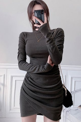 BACKORDER - Amberly High Neck Asymmetrical Dress in Coffee Brown