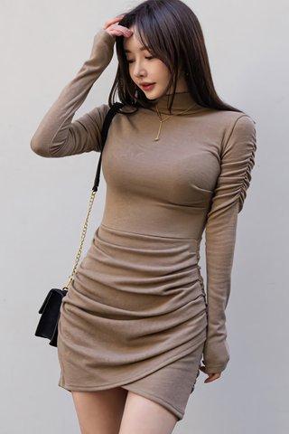 BACKORDER - Amberly High Neck Asymmetrical Dress in Khaki