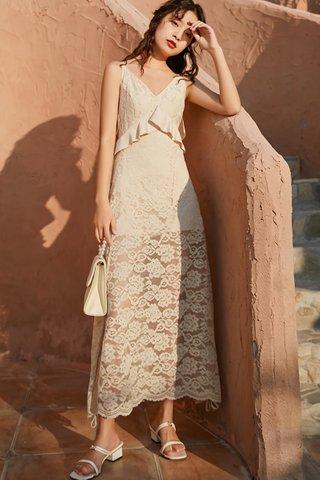 BACKORDER - Arlene Lace Overlay Back Cascade Ruffle Dress