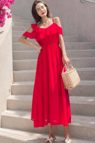 BACKORDER - Camden Cold Shoulder Ruffle Dress