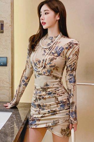 BACKORDER - Camille Floral Print Ruched Dress