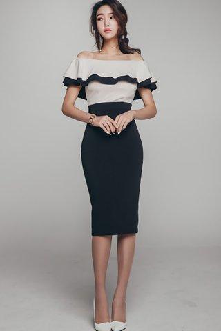 BACKORDER - Charlotte Off Shoulder Colorblock Dress