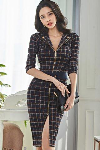 BACKORDER - Cheri Windowpane Zipper Dress