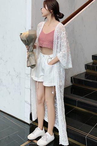 BACKORDER - Emmeline Floral Mesh Outerwear in White
