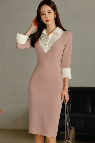 BACKORDER - Fayola Collar Sleeve Colorblock Dress