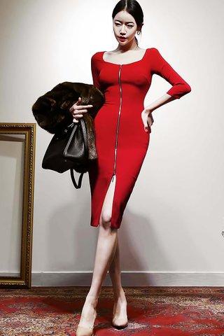 INSTOCK - Isabel Square Neck Zipper Dress