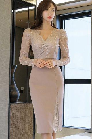BACKORDER - Jillian V-Neck Sleeve Dress in Dusty Pink