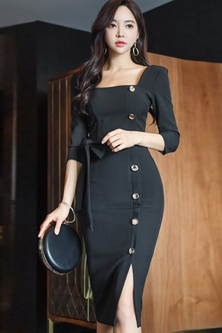 BACKORDER - Karly Square Neck Single Breasted Dress