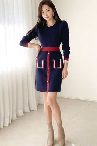 BACKORDER - Kassy Sleeve Colorblock Knit Dress in Blue