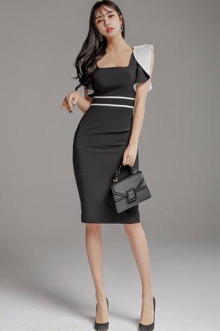 BACKORDER - Lindea Square Neck Foldover Sleeve Dress in Black