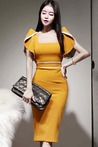 BACKORDER - Lindea Square Neck Foldover Sleeve Dress in Yellow