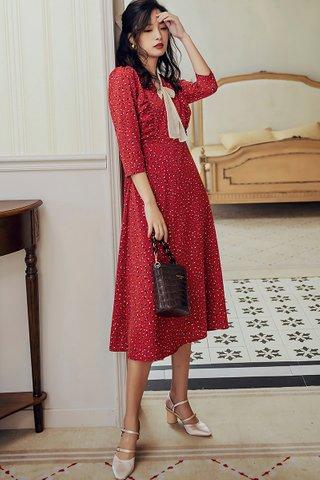 BACKORDER - Lois Ribbon Tie Print Dress