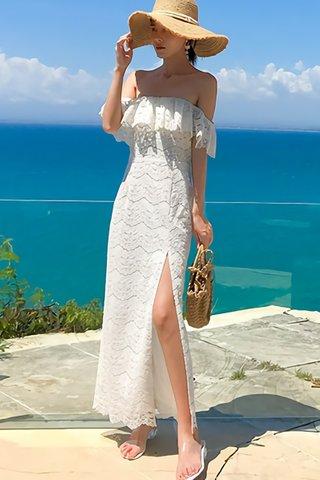 BACKORDER - Lorie Off Shoulder Lace Slit Dress