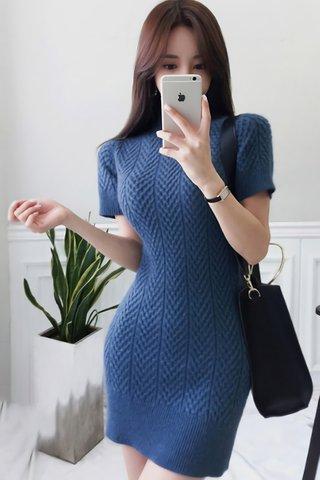 BACKORDER - Morgan Sleeve Knit Mini Dress in Blue