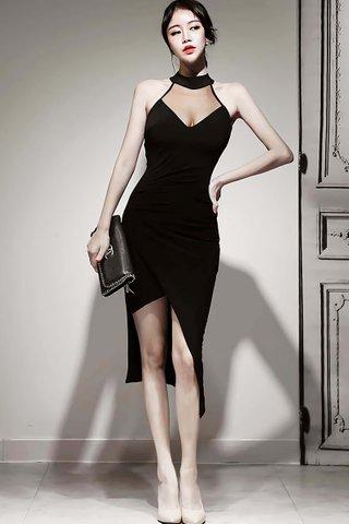 BACKORDER - Naomi Mesh Halter Neck Asymmetrical Dress