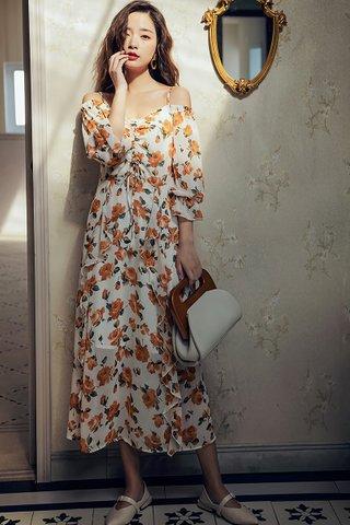 BACKORDER - Noel Cold Shoulder Floral Print Dress
