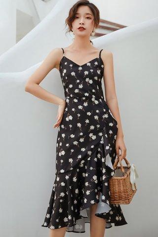 BACKORDER - Quiana Floral Print Cascade Ruffle Dress