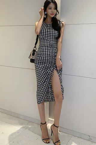 BACKORDER - Rosie Checkered Ruched Slit Dress