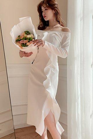 BACKORDER - Rylee Off Shoulder Ruffle Cascade Dress