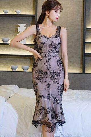 BACKORDER - Titrina Lace Overlay Ruffle Hem Dress