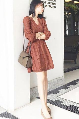 BACKORDER - Verna Scallop Eyelet Dress in Brown