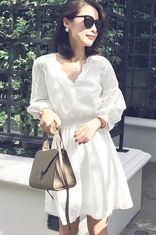 BACKORDER - Verna Scallop Eyelet Dress in White