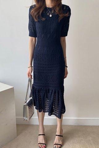 INSTOCK - Agnesa Knit Eyelet Ruffle Hem Dress in Blue