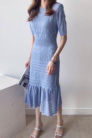 INSTOCK - Agnesa Knit Eyelet Ruffle Hem Dress in Sky Blue