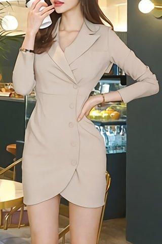 BACKORDER - Alena Cutout Collar Sleeve Asymmetrical Dress