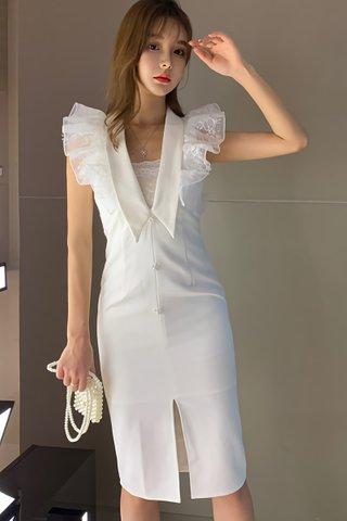 BACKORDER - Alesin Ruffle V-Neck Dress in White