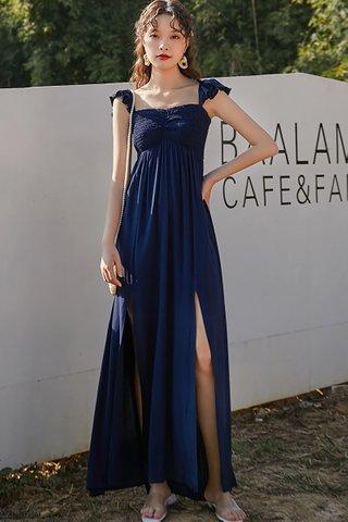 BACKORDER - Anna Shirring Side Slit Dress