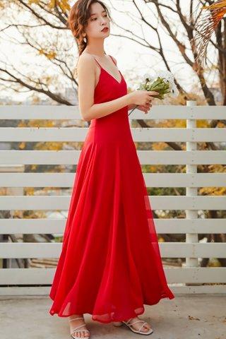 BACKORDER - Babette V-Neck Bareback Maxi Dress in Red
