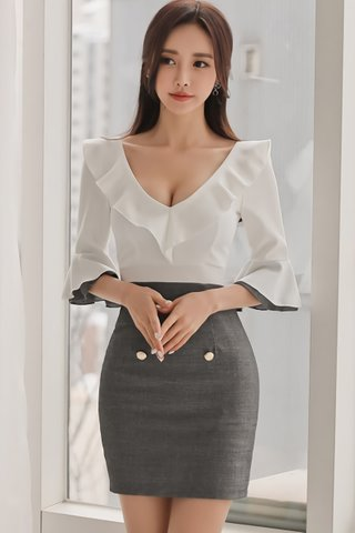 BACKORDER - Brea Ruffle V-Neck Dress