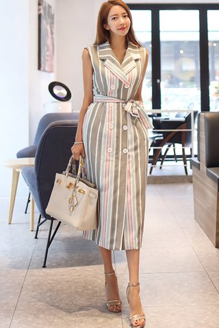BACKORDER - Cleobelle Double Breasted Striped Dress in Grey Stripes
